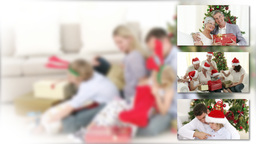 Positive family celebrating christmas with children Animation