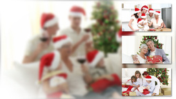 Caucasian family celebrating christmas together Animation