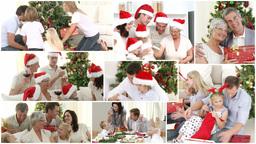 Anination of a caucasian family celebrating christmas Animation