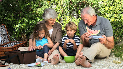 Grandparents and grandchildren feasting at a picni Footage