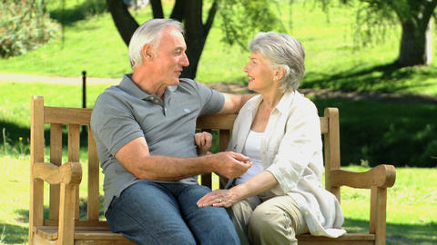 Elderly couple sitting on a bench and talking Footage