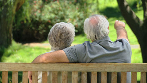Old man relaxing with his wife on a bench Live Action