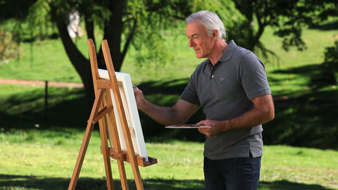 Senior male painting a canvas Footage
