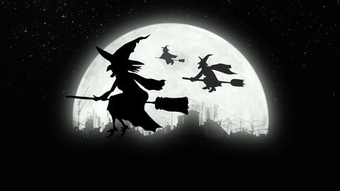 Witches flying over the city at night Animation