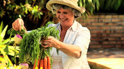 Mature woman showing garden produce Footage