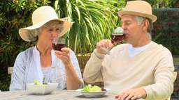Mature couple enjoying red wine outdoors Footage