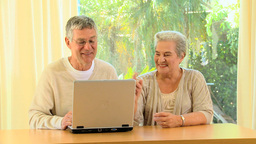 Mature Couple Using A Laptop stock footage