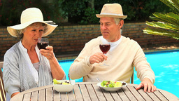 Mature couple enjoying wine with their lunch outdo Footage