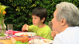 Family lunch in the garden Footage