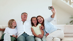Family posing for a photo Footage