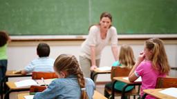 Teacher talking to her pupils Footage
