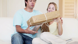 A couple receiving a package Footage