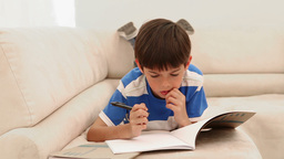 Boy writing in a magazine Live Action