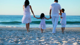 Peaceful family walking together Footage