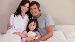 Smiling family embracing Footage