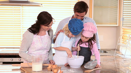 Happy family cooking Footage