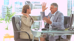 Business people in slow motion giving highfive Footage