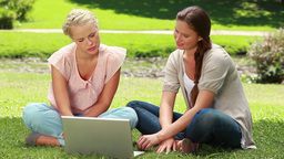 Two girls use a laptop while sitting in the park a Footage