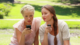 Two women on mobile phones in the park as they loo Footage