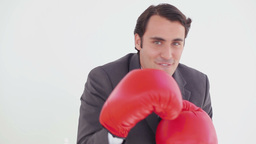 Smiling executive boxing with red gloves Footage