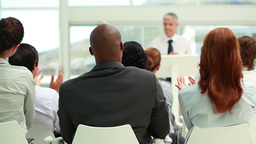 Business people listening to a speaker Footage
