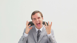 Businessman sitting making facial expressions Footage