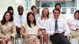 Front view of smiling business people Footage