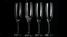 Glasses filled in super slow motion Footage