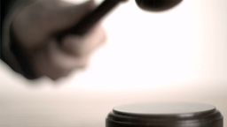 Hand Pounding Gavel In Super Slow Motion And Then  stock footage