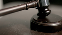Hand Pounding Gavel In Super Slow Motion stock footage