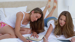 Smiling young women doing their homework together Footage