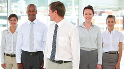 Business team standing together and smiling Footage