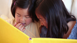 Two sisters reading a book together Footage