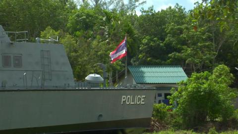 Tsunami police boat monument Khao Lak 02 Stock Video Footage