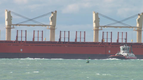 log ship and tug Stock Video Footage