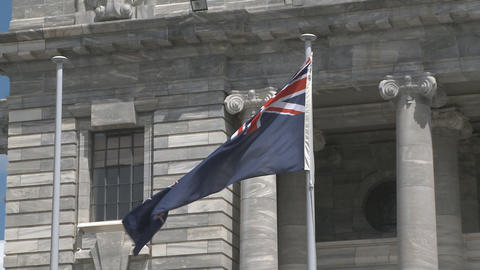 New Zealand flag outside parliament Stock Video Footage