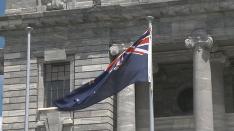 New Zealand flag outside parliament ビデオ