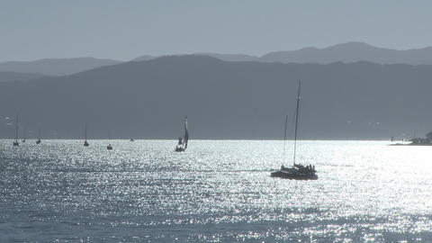 yachts against sunrise Stock Video Footage