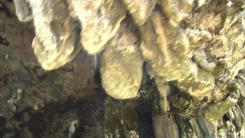 Phang Nga boat shot water cave stalactites Footage
