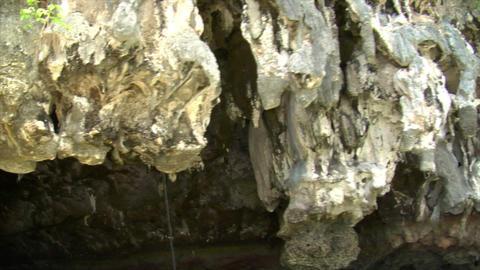 Phang Nga boat shot water cave stalactites Stock Video Footage