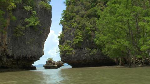 Phang Nga boat shot between islands Stock Video Footage