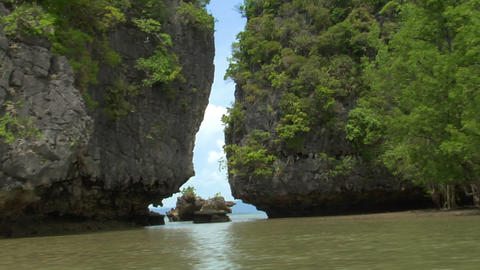 Phang Nga boat shot between islands Stock Video Footage