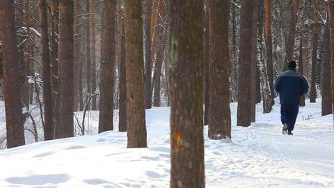 Winter jogging Stock Video Footage