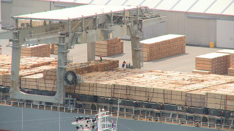loading timber products timelapse Stock Video Footage