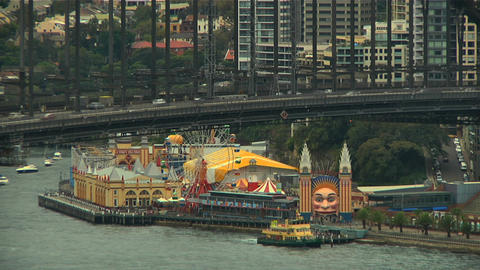Sydney Harbour Bridge and Amusement Park Stock Video Footage
