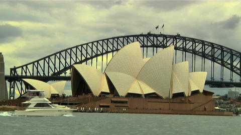Sydney Harbour Bridge and Opera House 02 Stock Video Footage