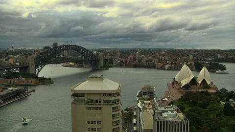 Sydney Harbour Bridge and Opera House 04 Stock Video Footage