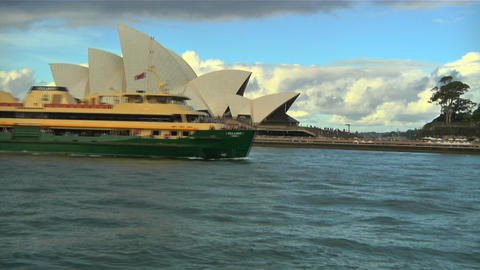 Sydney Opera House and Ship 02 Stock Video Footage