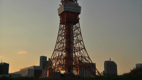 Tokyo Tower 02 PanDown Stock Video Footage