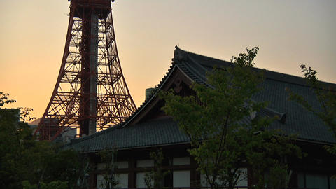 Tokyo Tower Traditional Japanese Houses 02 Stock Video Footage